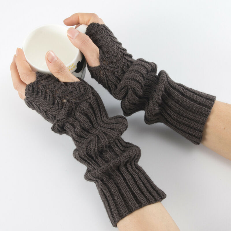 Fashion Women Knitted Fingerless Winter Gloves Soft Warm Wool Mitten Arm Warmer