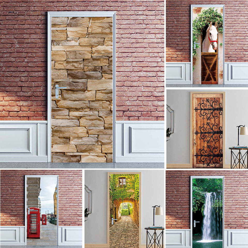 Simulation Brick Door Sticker Adhesive Removable Wallpaper Waterproof Poster Wall Art Mural Decals Home Decor Autocollant Porte