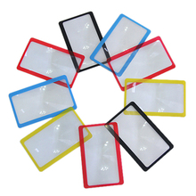 1pc Protable 3X Magnification Magnifier Full Page Reading Aid Lens Magnifier Sheet Pocket Credit Card Size PVC Magnifying Glass