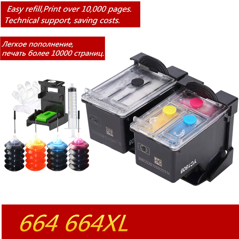 Saving 50% of Printing Costs 664 Refillable <font><b>Ink</b></font> Cartridge for <font><b>HP</b></font> Deskjet <font><b>1115</b></font> 2135 3635 2138 3636 3638 4535 4536 4538 4675 4676 image