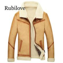 Rubilove Mens Winter Faux Fur Coat Outerwear Male Fleece Lined Leather Jacket Thick Cashmere Slim Warm Plus size 4XL