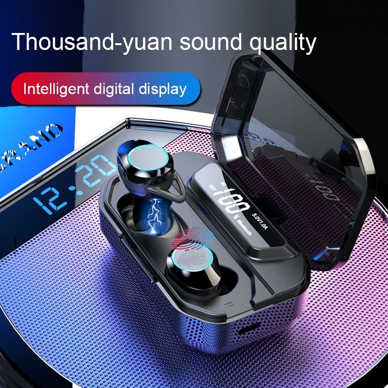 G02 TWS 5.0 Bluetooth Stereo Earphone Wireless IPX7 Waterproof Touch Earbuds Headset 3300mAh LED Smart Power Bank Phone Holder