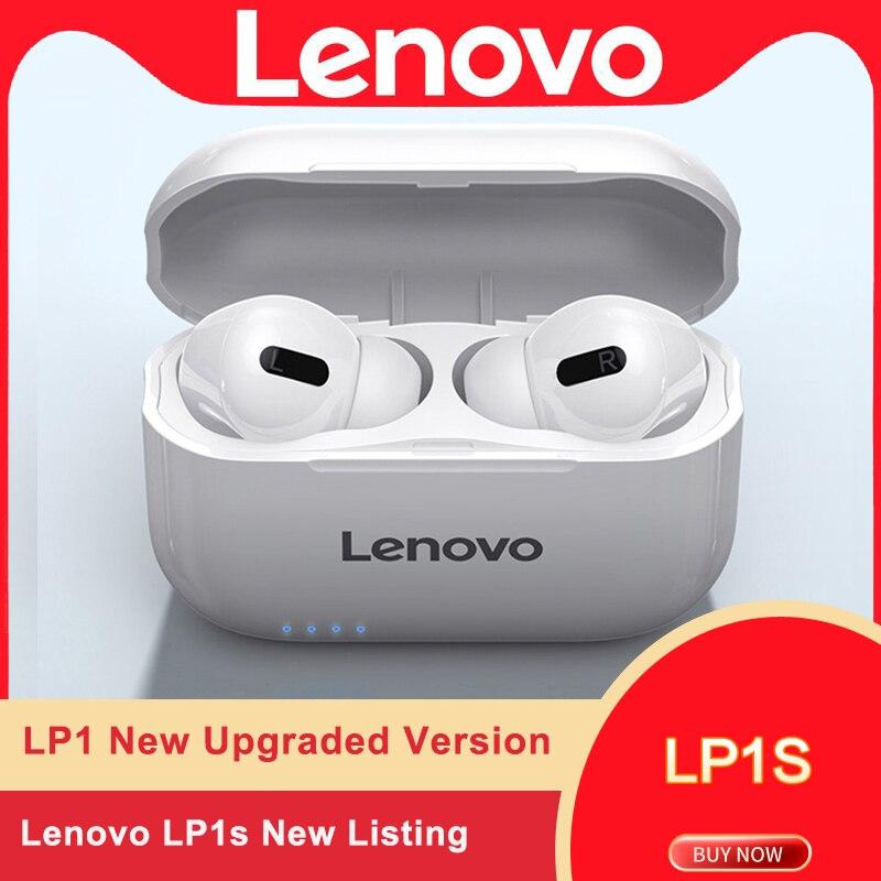 Lenovo LP1S-auriculares TWS, inalámbricos por Bluetooth, Auriculares deportivos estéreo con música HiFi y micrófono LP1 S para teléfonos inteligentes Android e IOS