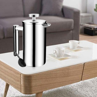 350/700/1000ml Double Layer Kettle Office Home Kitchen French Manual Percolator Coffee Maker Handheld Stainless Steel Press Cafe