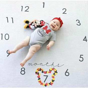 Infant Baby Milestone Photography Prop Blanket Newborn Baby Monthly Flowers Numbers Photo Prop Backdrop Cloth Photo Accessories