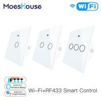 Interruptor inteligente con WiFi y Control remoto para el hogar, Panel de cristal con cambio de trabajo de luz Tuya, Alexa Echo, Google Home, RF433, tipo europeo, táctil, color blanco