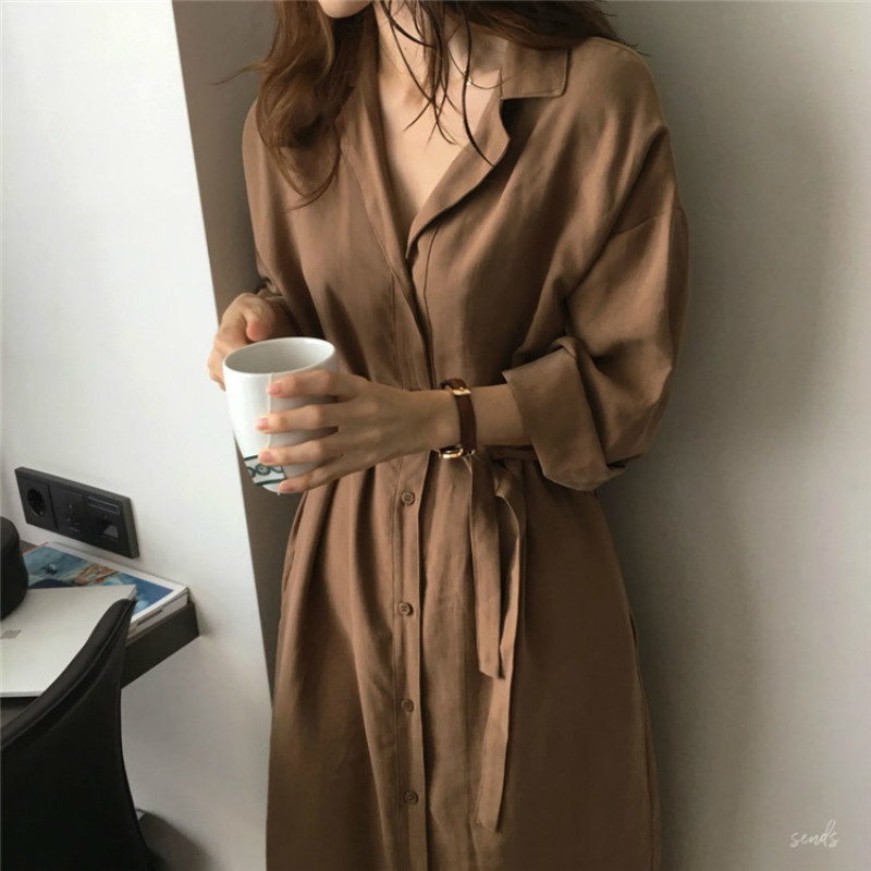 2020 Spring Autumn New Fashion Female Batwing Sleeve Vintage Solid Shirt Utility Dress Women Casual Loose Wrap Dress Oversize