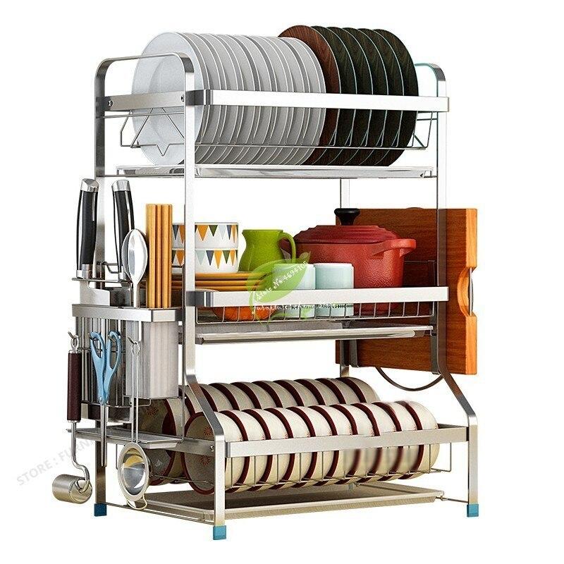 Ev ve Bahçe'ten Raflar ve Tutucular'de Mutfak aksesuarları organizatör raf duvar kancaları tencere ve tavalar için depolama rafı yükseltme sepeti mutfak bulaşık kurutma makinesi title=