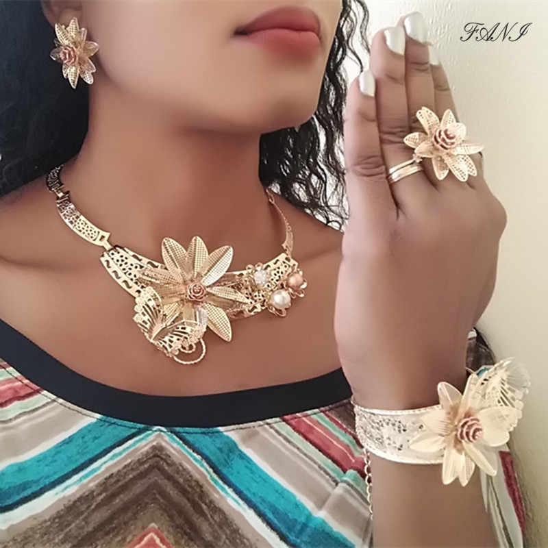 Fani Dubai złoty kolorowy zestaw biżuterii ślub nigeryjski kobieta akcesoria zestaw biżuterii koraliki afrykańskie kwiat projektant zestaw biżuterii