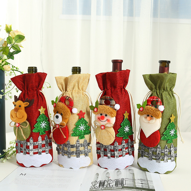 New Year Merry Christmas Santa Wine Bottle Bag Cover Xmas Festival Party Table Decor Kitchen Supplies Home Gift