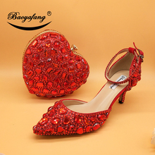 Love Moments Red Heart Bag and shoe Ladies platform shoes for woman Wedding shoes Bride High heel Round toe Big size shoe women italian matching shoe and bag sets for party wedding me3322 t blue african women shoes and bag set with free shipping