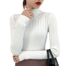 2021 NEW White turtleneck sweater female half small fresh winter jacket slim tight long sleeved all-match knitted shirt