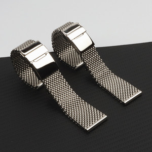 22mm 24mm Brand quality watch band 316L stainless steel watchband for Breitling strap Wristband with folding buckle full silver