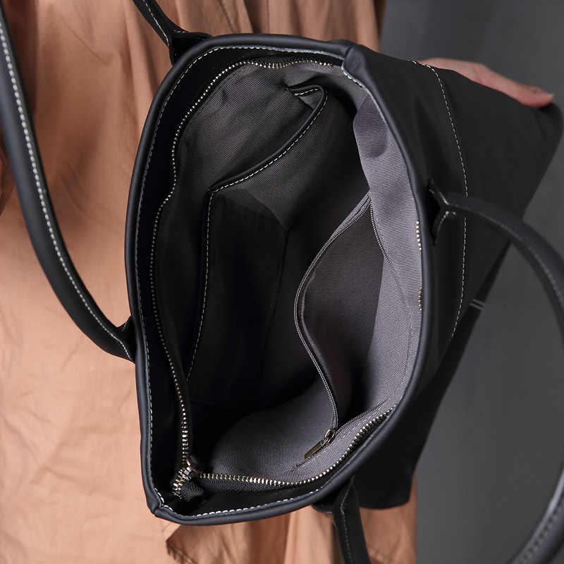 Genuino della mucca borse di cuoio delle signore di sacchetto di cuoio di inverno delle donne grande borsa a tracolla nero femmina borse a mano per le donne 2019