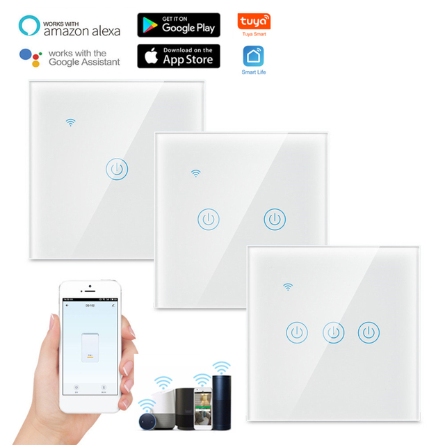 200W TUYA 2.4 GHz Wi-Fi Smart Touch Switch EU 220-240VAC Home Wall Button For Alexa And Google Home Family Intelligence System