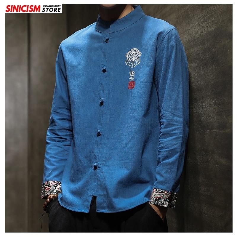 Sinicism Store Autumn Embroidery Cotton Linen Shirts Men Kimono Traditional Open Stitch Shirts Male Shirt Chinese Style
