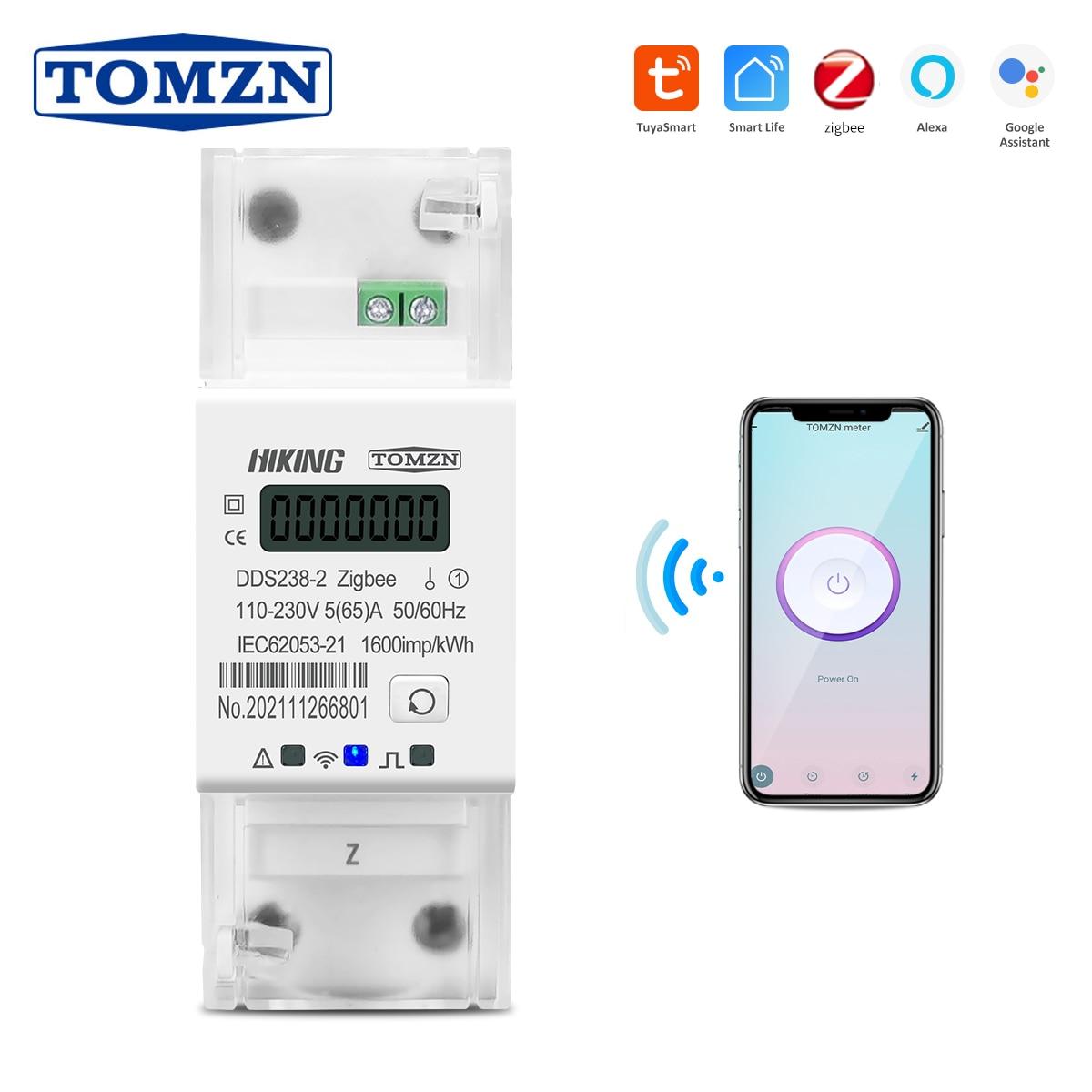 Zigbee Tuya Single Phase 65A Din Rail WIFI Smart Energy Meter timer Monitor kWh Meter Wattmeter 110V 220V 50/60Hz
