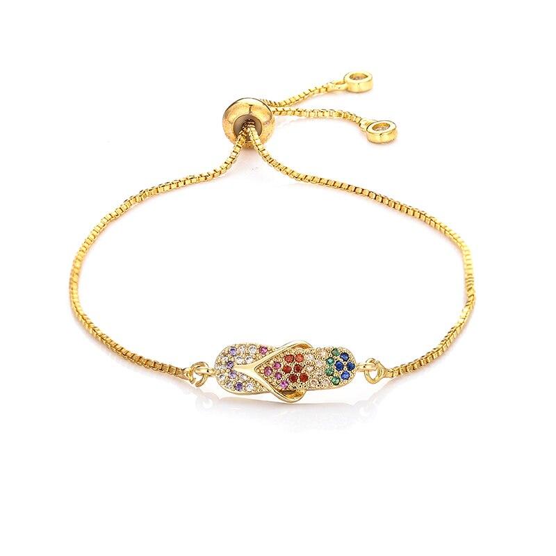 Pulseras de moda para mujer, zapatos Arco Iris, joyería de oro cz, brazalete de circón colorido, pulsera de cadena ajustable para mujer