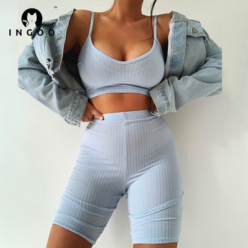 INGOO Summer Backless Tracksuit Sets Women Strap Crop Top And Mini Biker Shorts Ladies Solid Ribbed Casual Street Outfits Sets 1