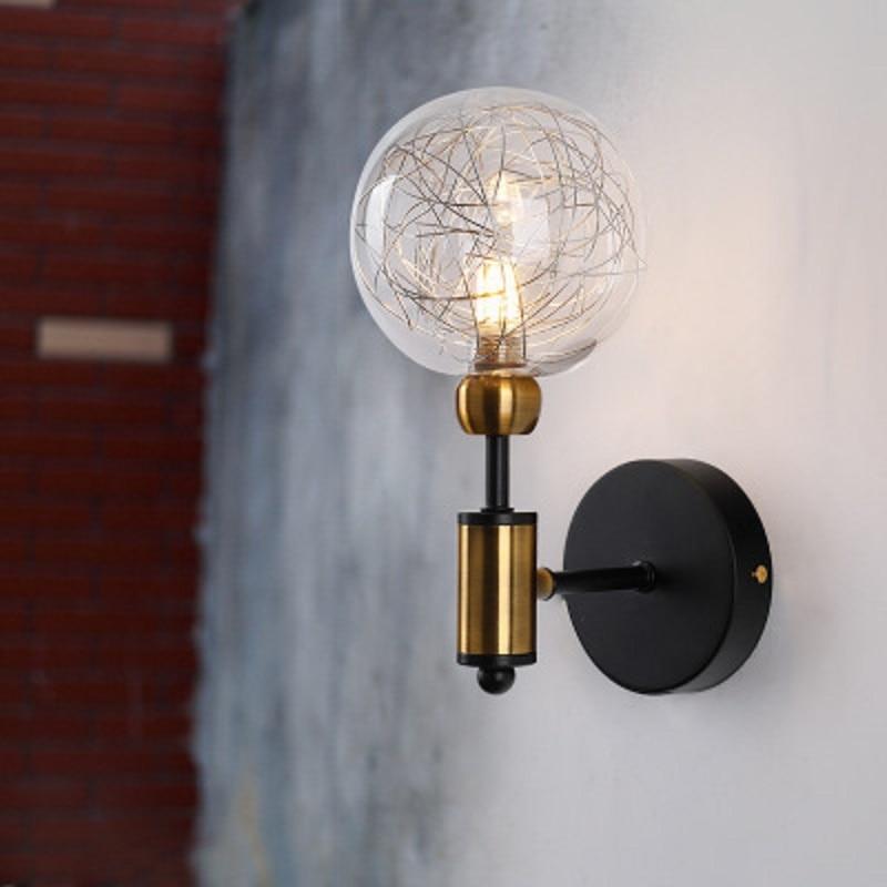 LukLoy Nordic Modern Wall Lamp For Living Room LED Glass Ball Light Globe Wall Sconce Light Fixtures Restaurant Aisle Light