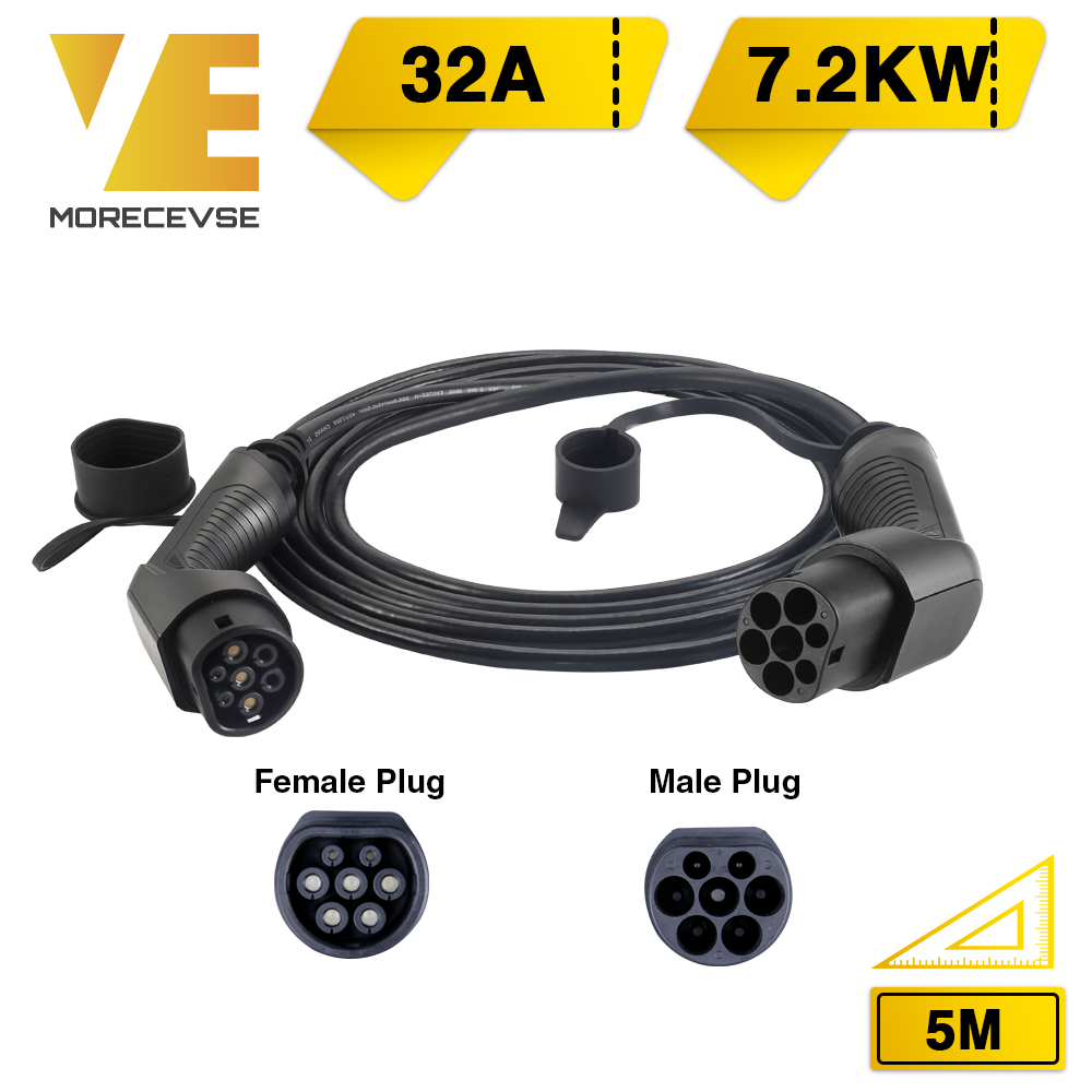 Morec EV Charging Cable 32A 7.2KW For Electric Car Charger Station Type 2 Female To Male Plug, IEC 62196-2 5M