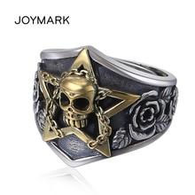 цена на Men's Rose Flower S925 Sterling Silver Finger Ring Genuine Thai Silver Ring Inlaid Brass Skull Five-pointed Star Punk Jewellery