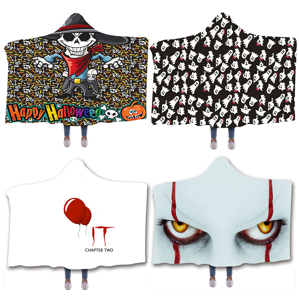 Oversized Halloween Adults Ghostly Printed Clowns It 2 Pennywise Cloak Blanket