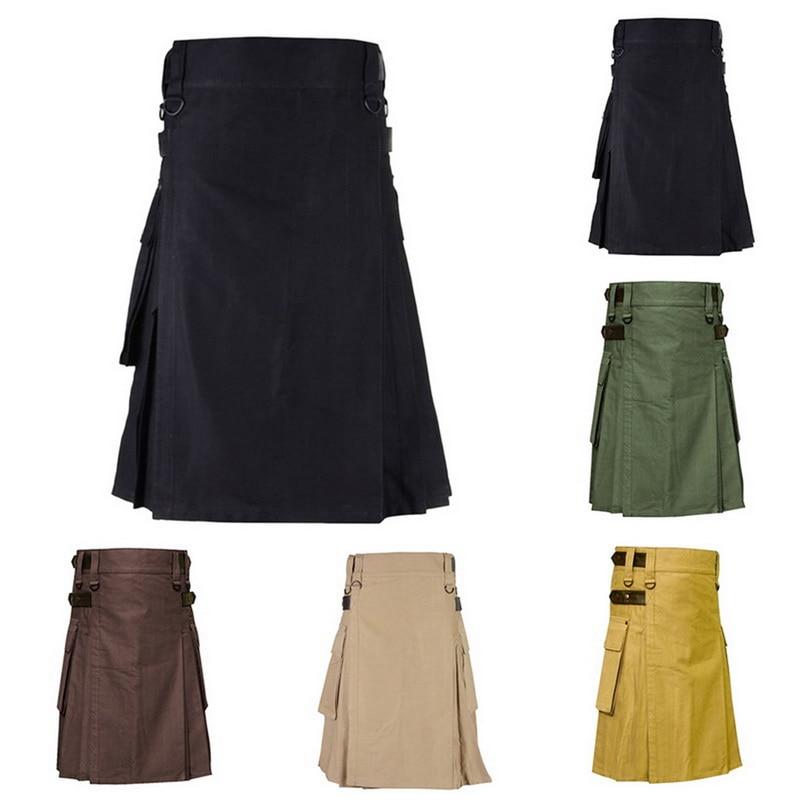 LOOZYKIT Scottish Mens Solid Classic Retro Traditional Plaid Medieval Cargo Personality Scottish Kilts Check Pattern Skirts