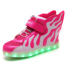 Spring 2019 children sneakers led light shoes for girls usb luminous sneakers glowing for boy kids usb charging shoes wings glowing luminous sneakers feminino baskets with light sole usb charger children led slippers for boy