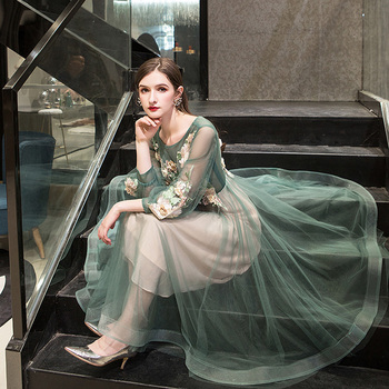 It's Yiiya Evening Dress 2019 Elegant O-Neck Appliques Plus Size Robe De Soiree Applieus Women Party Night Dresses E773 5