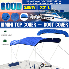 600D Waterproof barco Boat Cover 3 Bow Bimini Top Replacement Canvas Cover with Boot Cover No Frame Marine Cover Accessories
