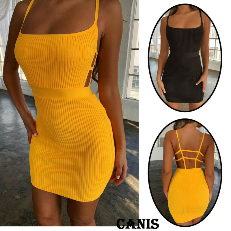Spaghetti Strap Sexy Bodycon Dress Summer Yellow Neon Green Black Orange Elegant Sleeveless Mini Short Dress Women