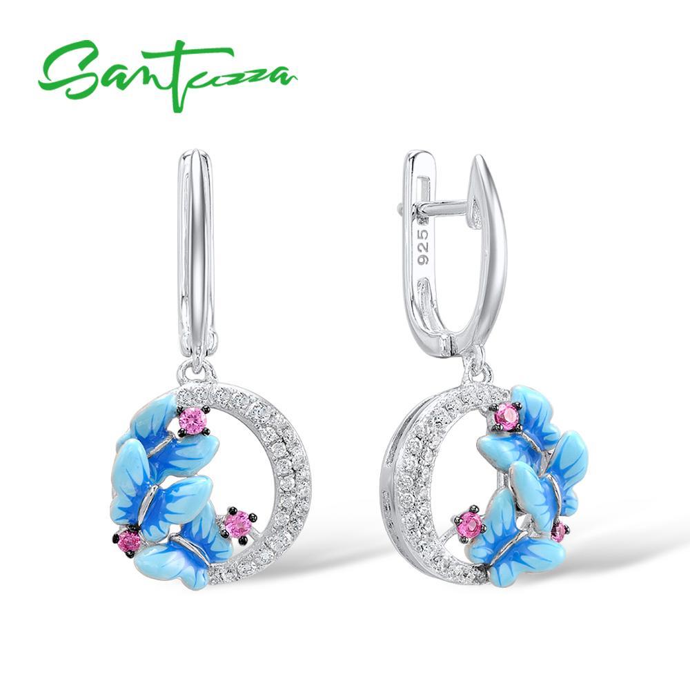 SANTUZZA Silver Earrings For Women 925 Sterling Silver Delicate Charming Blue Butterfly Drop Earrings Trendy Party Fine Jewelry