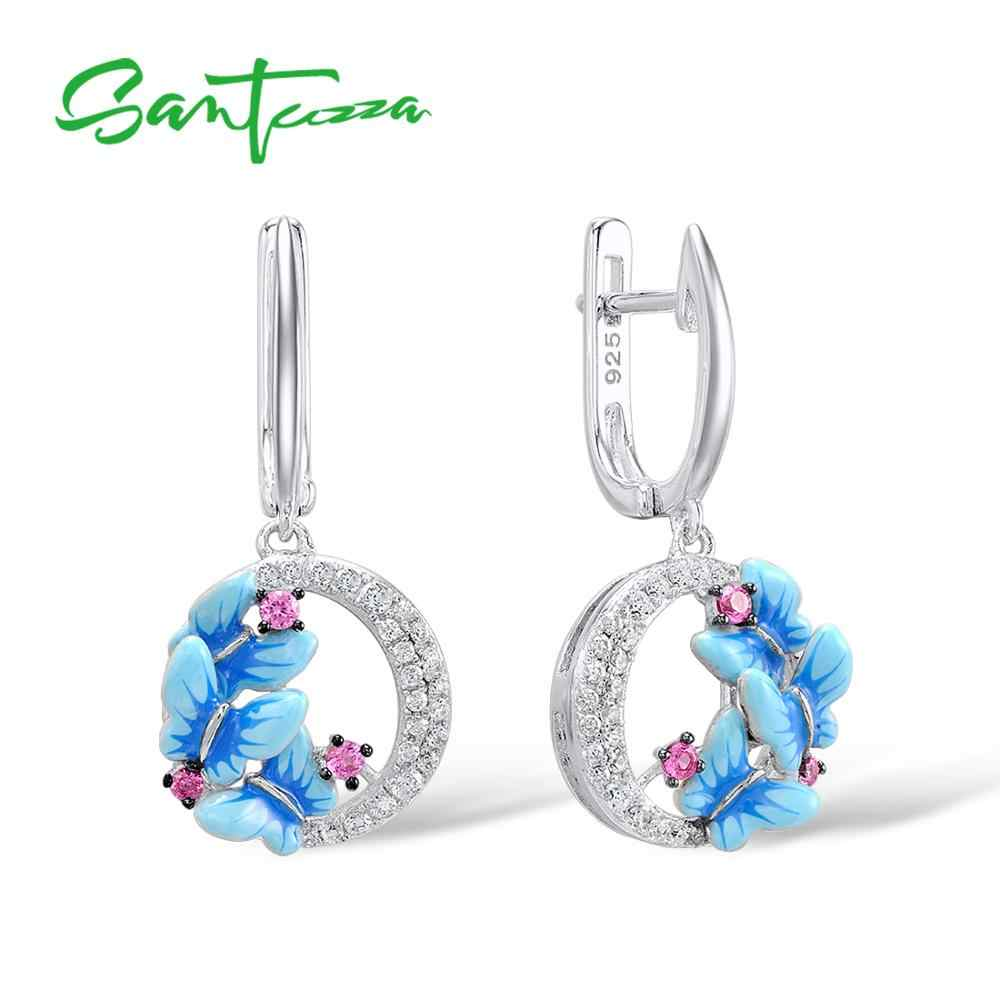 SANTUZZA Silver Earrings For Women 925 Sterling Silver Delicate Charming Blue Butterfly Drop Earrings Trendy Party Fine Jewelry