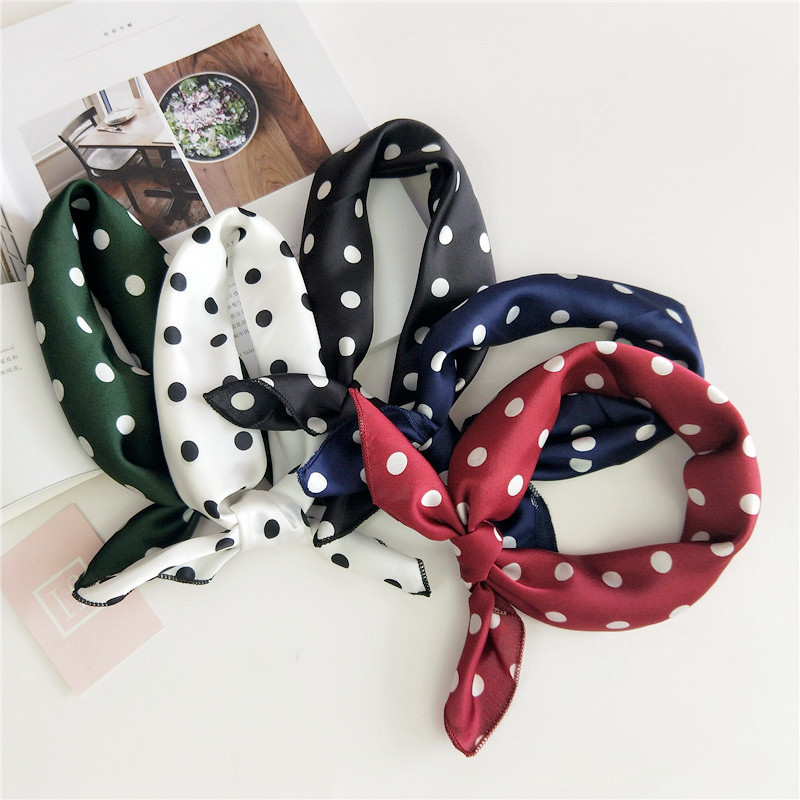 50*50cm Wave Point Elegant Women Square Silk Head Neck Feel Satin Scarf Skinny Retro Hair Tie Band Small Fashion Square Scarf