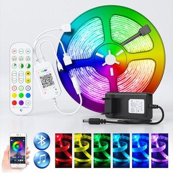 RGB LED Strip Light 2835 SMD 5050 5m 10M LED Lights String tape LED diode lamp flexible Bluetooth controller DC 12V adapter set Home & Living