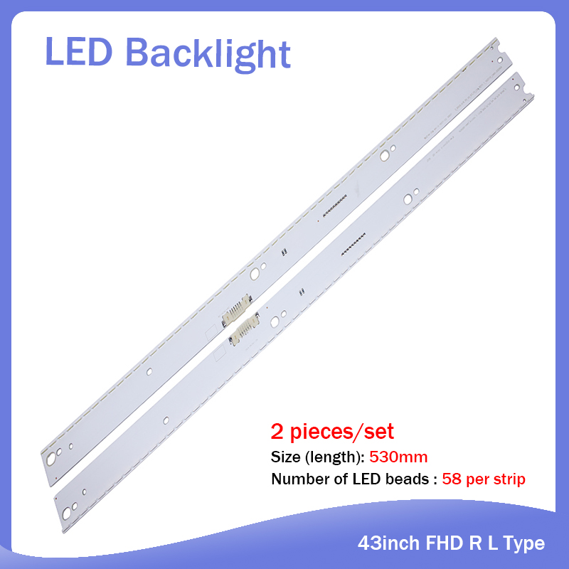 New2 Pieces/set 58LED530mm LED Backlight Strip For Samsung 49
