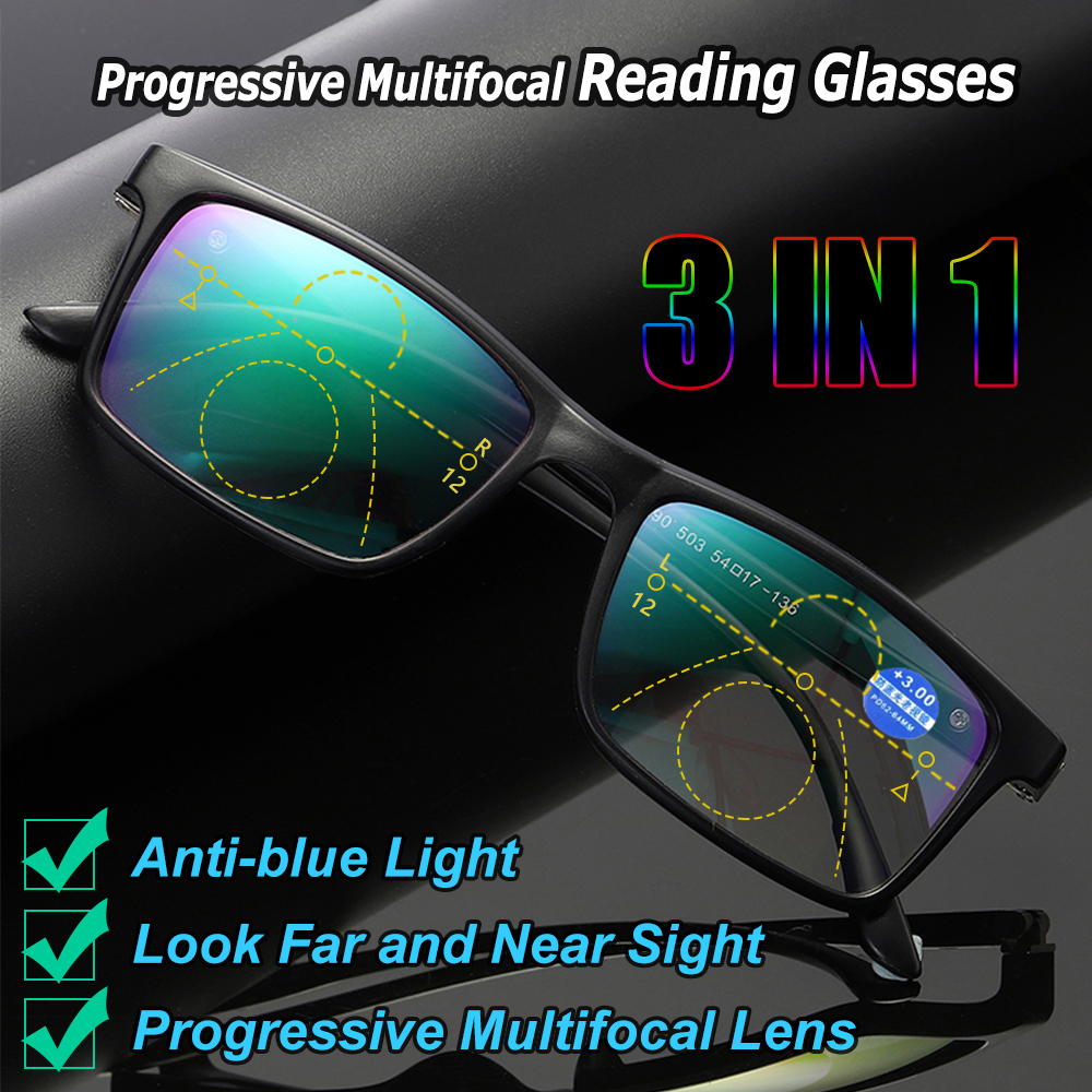 Anti-blue Light Glasses Presbyopia Eyeglasses Progressive Multifocal Lens Computer Eyeglasses +1 +1.5 +2 +2.5 +3 +3.5 +4