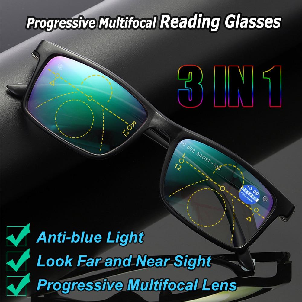 Anti-blue Light Glasses Presbyopia Eyeglasses Progressive Multifocal Lens Computer Eyeglasses +1 +1.5 +2 +2.5 +3 +3.5 +4