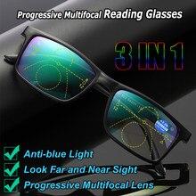 Óculos anti-azul para uso no computador, óculos para presbiopia, lentes multifocais, progressivas, + 1 + 1.5 + 2 + 2.5 + 3 + 3.5 + 4