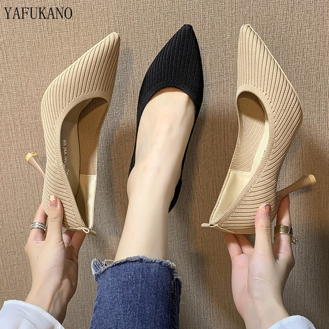 Fashion Black High Heels 2019 New Shallow Mouth Women's Shoes Professional Work Shoes Pointed Toe Stiletto Knitted Single Shoes 3