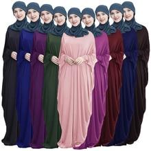 Abaya мусульманское женское длинное платье Jilbab Kaftan рукав летучая мышь Повседневный свободное арабское длинное платье однотонное платье мусульманское Молитвенное платье одежда