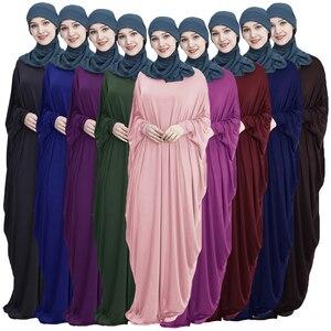 Image 1 - Abaya Muslimischen Frauen Lange Kleid Jilbab Kaftan Fledermaus Ärmel Beiläufige Lose Arabischen Maxi Robe Islam Einfarbig Kleid Gebet Kleidung kleidungsstück