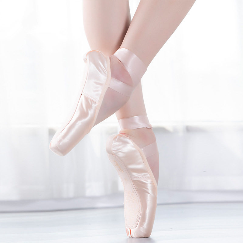 Pointe Satin Upper With Ribbon Girls Women's Pink Professional Ballet Shoes Dancing Shoes With Toe Pads