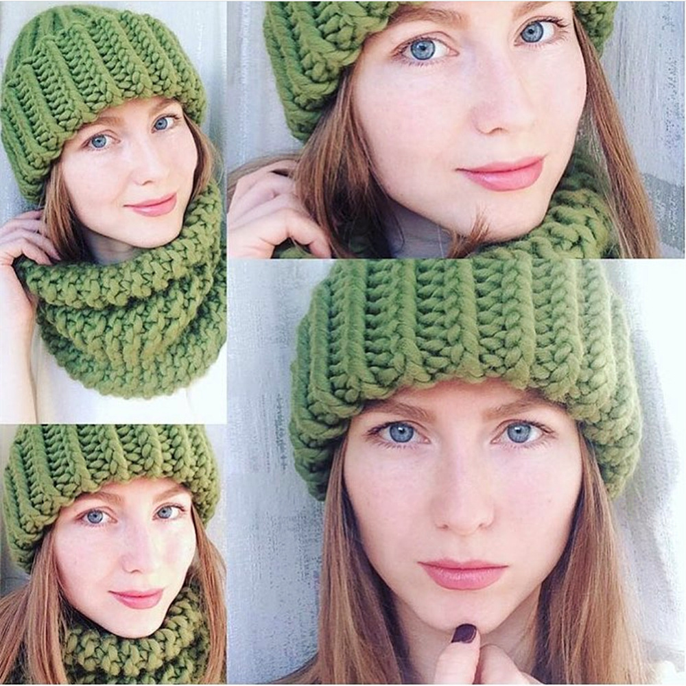 Women Winter Knitted Beanies Hat Thick Soft Warm Coarse Large Knitted Solid Hat Female Ice Ski Bonnet Skullies Beanies Hat Cap 54
