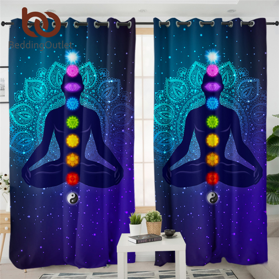 BeddingOutlet Hippie 7-Chakra Curtain Zen Meditation Blackout Curtain Colorful Mandala Flower Luxury Curtain Psychedelic Rideaux