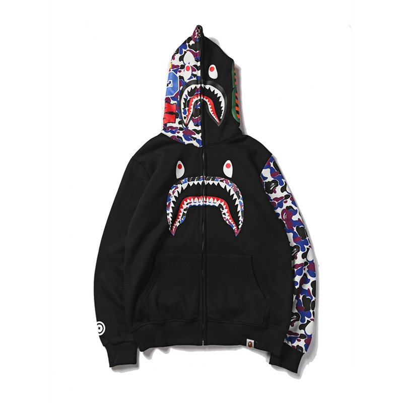 Japanese-style Popular Brand Shark Head Half Camouflage Zipper Cool Teenager Hoodie Couple Clothes Coat