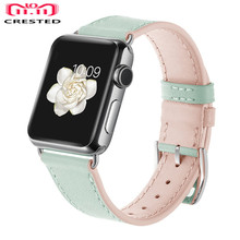 Lerxiuer Leather strap For Apple Watch Band 42mm 38mm iWatch Genuine Straps Metal Buckle Replacement Candy Color
