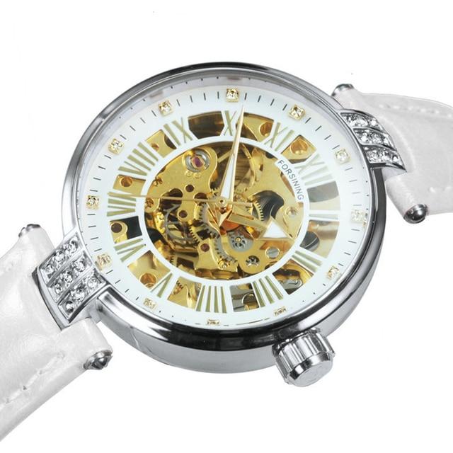 FORSINING New Fashion Vintage Mechanical Women Watches Top Brand Luxury Gold Skeleton Leather Strap Ladies Watch часы женские 2