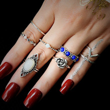 NJ 2019 Retro Style Chic Blue Gem Rings Flower Shaped  8 Piece Set For Woman Young Ladies Silver Geometric